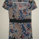 EUC - AB STUDIO Womans Short Sleeve Shirt XL Multi-Colored Flower