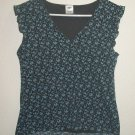 EUC - OLD NAVY Womans Short Sleeve Shirt LG Blue Flowers