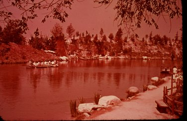 Disneyland 35mm INDIAN VILLAGE ACROSS THE WATER Souvenir Slide (1972) 0660