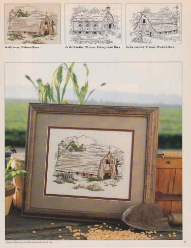 MIDWEST BARN Cross-Stitch Single Pattern ONLY American Barns Series 1 0f 3