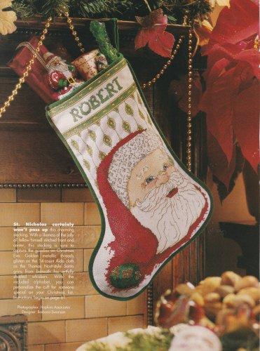 SANTA STOCKING Cross-Stitch Single Pattern ONLY Christmas Holiday Santa Clause FREE SHIPPING