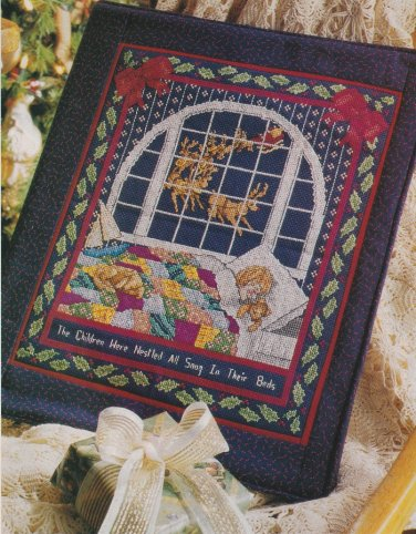 SNUG IN BED Cross-Stitch Single Pattern ONLY Christmas Holiday Santa FREE SHIPPING
