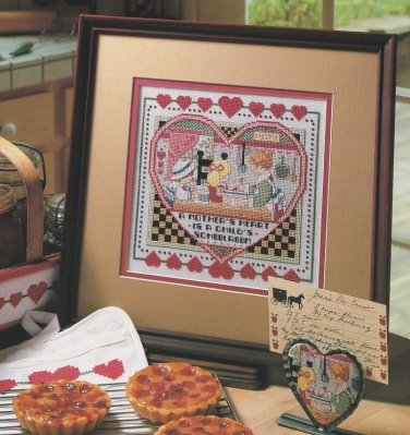 A MOTHERS HEART Cross-Stitch Single Pattern ONLY Kitchen School Love FREE SHIPPING
