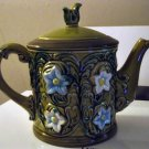 No. 6457 Vintage Green Porcelain Turquoise and White Flowers Teapot TPS-1018