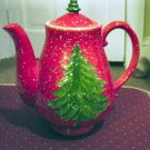 Red Porcelain Christmas Teapot with Tree and Falling Snow TPS-1019