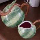 Large Green and Pink Melon Teapot and Creamer  TPS-1020