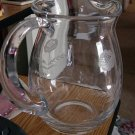 Small Hand Blown Flower Etched Glass Drink Pitcher TPS-1021