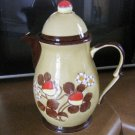 Beautiful Vintage Gold and Brown Chocolate Pot Teapot with Strawberries TPS-1029