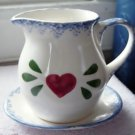 White Porcelain Red Heart Country Pitcher and Saucer TPS-1030