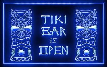 TIKI GOD LED BAR IS OPEN LOUNGE SIGN IN 5 COLORS