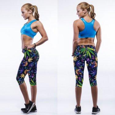 Tye dye cannabis print capris leggings