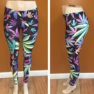 Ladies multicolor cannabis leaf leggings