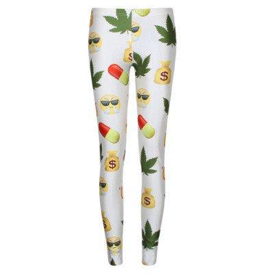Cannabis weed leaf emoji leggings