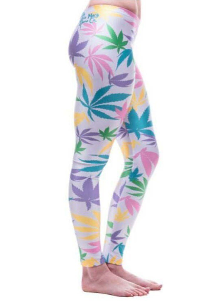 Ladies pastel pink cannabis weed leggings