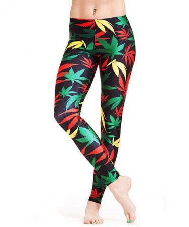 Ladies Rasta weed leaf leggings