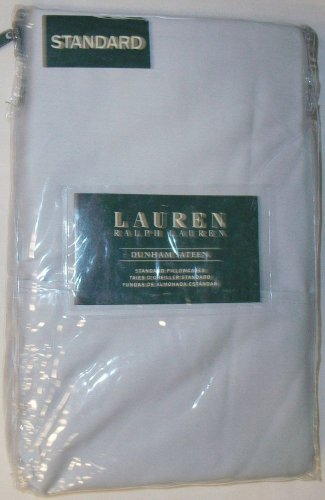 RALPH LAUREN DUNHAM SATEEN SILVER STANDARD PILLOW CASES PAIR 100% COTTON NEW