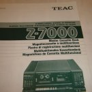 Teac Z-7000 Cassette Deck Manual in 5 Language Français Espanol Allemand Italien