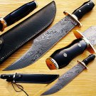 Custom Handmade Damascus Steel Jim Bowie Knife