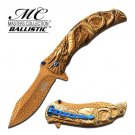 MTech Dragon Fury Assisted Opening Folding Pocket Knife Gold
