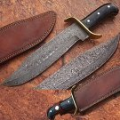 Custom Made Damascus Steel Traditional Bowie Knife