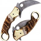 Exotic Karambit Damascus Folding Knife Ram Horn Grip Engraved