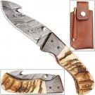 Handmade Folding Guthook Knife Ram Horn Handle Damascus Bolsteri