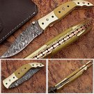 Executive Series Folding Damascus Gurkha Knife High-End Camel Bone w Brass