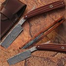 Custom Made Damascus Steel Straight Razor w/ Pakka Wood Handle