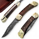 Great Juglan Damascus Steel Wooden Knife