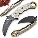 Handmade Damascus Silvermine Frontier Karambit Knife