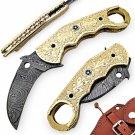 Handcrafted Desperado Sun Damascus Karambit Pocket Knife