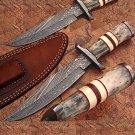 Custom Made Damascus Steel Hunting Knife w/ Giraffe & Camel Bone