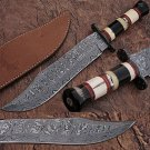 Custom Made Damascus Steel Bowie Knife w/ Buffalo Horn Handle