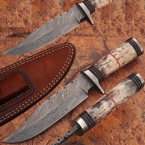 Custom Made Damascus Steel Hunting Knife w/ Giraffe Bone Handle