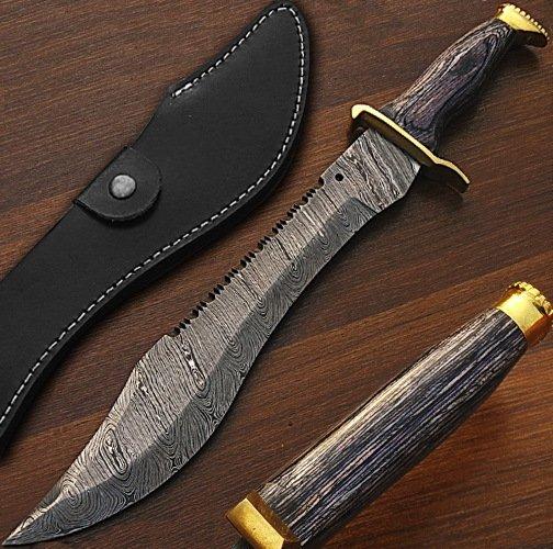Ranger Bowie Knife - Custom Made Damascus 16 in blade length