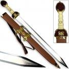 Maximus Roman Gladiator Sword Golden Medieval Gladius   Leather Wrapped Scabbard