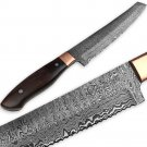 WHITE DEER Forged Serrated Bread Knife Chef Cutlery Damascus Steel Saw Kitchen