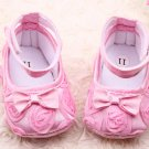 New 6/9 months baby girl's soft bottom pink crib shoes w/ rosettes infant