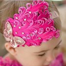 Vintage style baby headband with pink feathers and pink rhinestone butterfly C175
