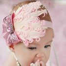 Pink vintage style baby headband with feathers and pink bow infant hairbow C175