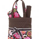 Quilted floral print monogrammable 3 pc diaper bag QHF(BR) baby B900 Clearance