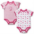 New 2 piece Hello Kitty baby girl bodysuits 3-6 months newborn gift set K375