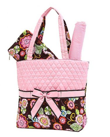 Quilted floral 3 piece diaper bag NDF1103L(PK) baby sale BS795