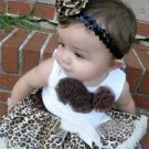 New baby girl's 12-18 months brown leopard tutu set pettiskirt with matching top