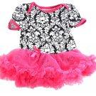 Baby girl's tutu romper dress damask print with pink tutu skirt
