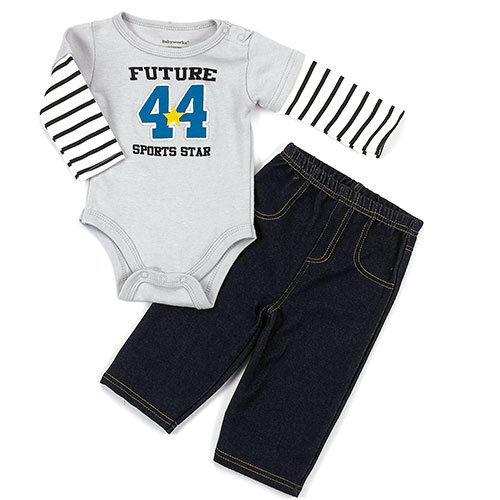 Baby Boys 0 3 Months Stretch Denim Look Pants And Bodysuit