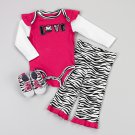 Baby girl's 6-9 months zebra print leggings set - leggings, bodysuit and shoes 479