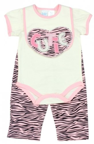 Baby girl's 3-6 months 3 pc zebra set creeper, pants & bib PKW650