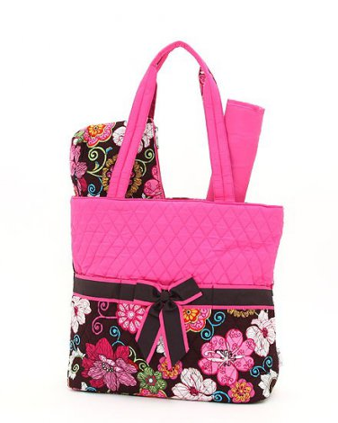 Quilted floral print monogrammable 3 pc diaper bag QHF1103L(BRFS) baby B900S