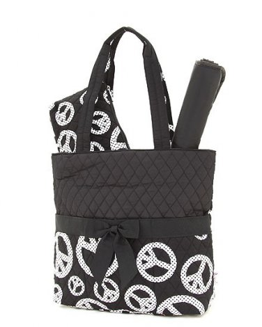 quilted peace sign monogrammable 3PC baby diaper bag QTP1103L(BKWH) newborn